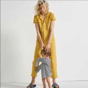 Yellow Madewell short sleeved jumpsuit